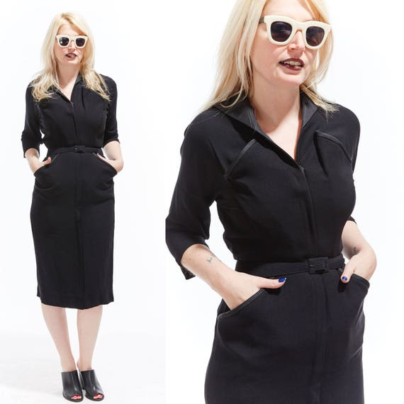 Vtg 60s Retro Belted PENCIL midi DRESS Pinup wiggle bodycon bandage Rockabilly Goth Chic Minimalist Avant Garde Sculptural Boho grunge lbd