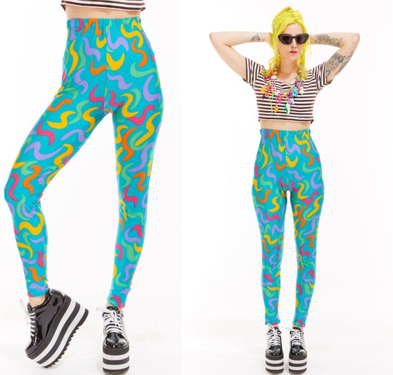 Vtg 80s 90s LEGGINGS Workout high waisted pants DANCEWEAR Disco RAVER Day Glow Club Kid Retro Geometric Psychedelic Festival Sea Punk sporty