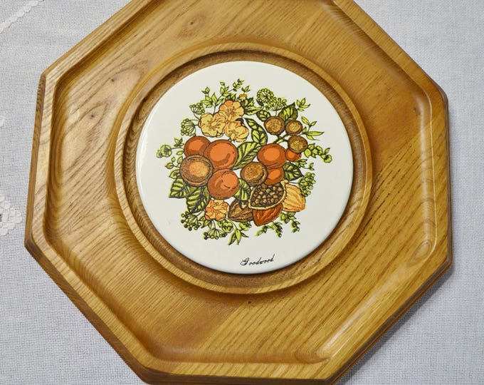 Vintage Goodwood Spice of Life Cheese Board Serving Tray Wood with Ceramic Tile Insert Appetizer Plate Retro Kitchen Decor PanchosPorch