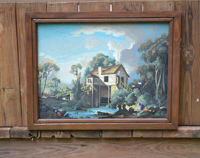Vintage Paint by Number Mill Cottage House Scenery Nature Landscape PBN Panchosporch