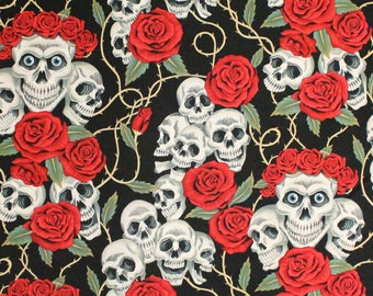 """100% Cotton Quilt Prints - Alexander Henry - The Rose Tattoo (Skulls & Roses) Fabrics / 45"""" W / Sold by the yard"""