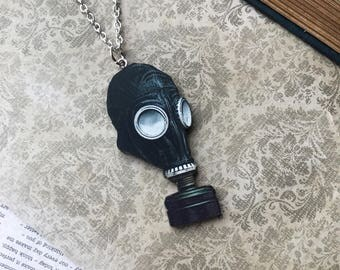 Wooden Black Gas Mask Necklace, Vintage Inspired, Oddity, Oddities, Macabre, Gothic, Goth, Jewelry