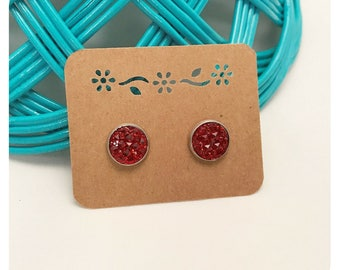 12mm Red Sparkle Prism Cabochon Stud Earrings