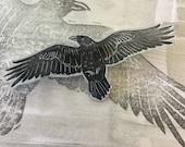 Hand printed raven brooch / badge