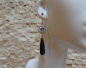 Brown Obsidian and Tanzanite dangle earring in Sterling Silver with pave CZ