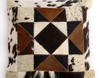 Natural Cowhide Luxurious Patchwork Hairon Cushion/pillow Cover (15''x 15'')a131