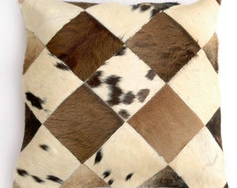 Natural Cowhide Luxurious Patchwork Hairon Cushion/pillow Cover (15''x 15'')a166