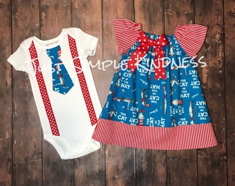 Boy & Girl Twin Dr Suess Outfit, Cat in the Hat Dress, Cat in the Hat Twins, Boy Girl Twins outfit, twin birthday outfits, Cat in the Hat