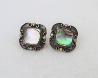 Vintage Sterling Silver Inlay Abalone Screw back Earrings