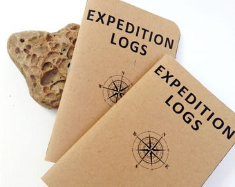 Expedition Logs- Adventure/Exploration Themed Pocket Notebooks- Set of 2- Rustic Mini Journals