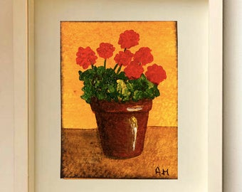 ACEO floral Original ACEO Flowers Geranium Acrylic painting Miniature art work Original painting Art collecting