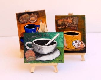 Mini canvas set Set of 3 Original painting Easel included Miniature painting Coffee cup painting Set of 3 paintings Mini art Tiny art canvas