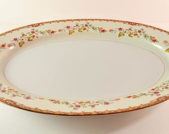 Vintage National China L' Automne 16 Inch Oval Serving Platter. White with Orange, Purple & Brown Flower Sprays. Shower and Wedding Gift.