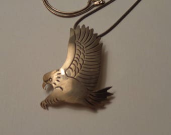 "Sterling Silver HIJE Flying Eagle Pendant on 18"" Chain"