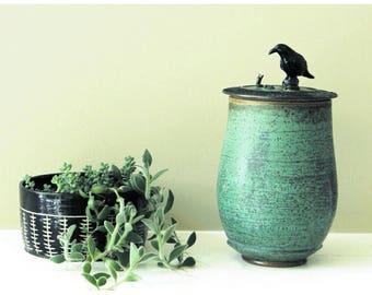 Raven urn, Green Pet urn, Cremation Urn, Memorial Urn, Keepsake urn, Stash jar, Wish jar, Sharing urn, Nevermore Raven Urn, Edgar Allen Poe