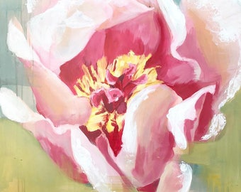 abstract pink peony painting acrylic on canvas pink, yellow, green farm housr art mid century