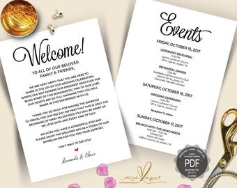 Wedding Welcome and Itinerary card, editable PDF template, Timeline card, Wedding weekend, welcome bag, welcome box, rustic theme (TED423_1)