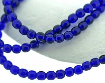 Cobalt 4mm Round Czech Glass Beads, dark blue small spacer beads x 100