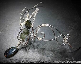 Wire Tiara Fairy Crown, Wire Tiara, Wire Headpiece, Decorative Headband, Silver Tiara, Medieval Circlet, Labradorite Tiara, Hair Accessories
