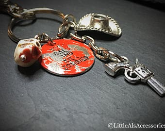 Walking Dead Keyring, Best Friend Gift, Stocking Filler, Zombie Keychain, Zombie Apocolypse, Charm Keychain, Horror Keyring, Novelty Gifts