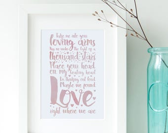 Ed Sheeran Thinking Out Loud Song Lyrics Print A4 Instant Download First Dance Lyrics Wedding Gift Anniversary Gift Lyrics Print - PDF File