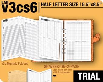 Trial [HALF size v3cs6 w/o daily] November to December 2017 - Half Letter - Filofax Inserts Refills Printable Binder Planner Midori.