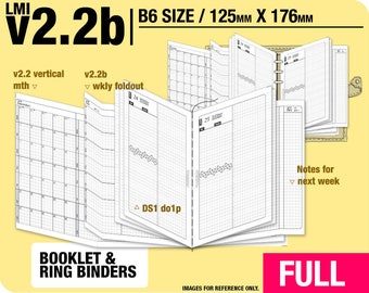 FULL [B6 v2.2b w ds1 do1p] January to December 2018 - Filofax Inserts Refills Printable Binder Planner Midori.