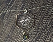 "Echo Necklace — hexagon, flash labradorite, silver brass 18"" chain dainty freshwater pearl clasp charm feminine nashville  minimalist spring"