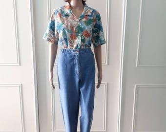 1980's vintage jeans vintage high waisted jeans stirrup jeans Fashion Extra jeans 80's denim jeans ladies 80's jeans 80's blue jeans size 16