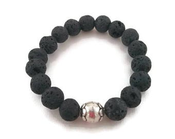 Black lava and sterling silver stacking bracelet, root chakra,grounding
