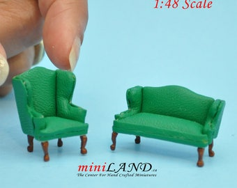 """1:48 1/4"""" quarter scale Queen Anne Leather Sofa and wing chair set GREEN Top quality walnut for dollhouse miniature"""