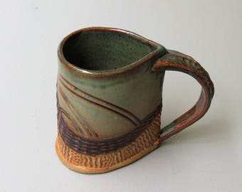 Abstract Pottery Mug Coffee Cup Handmade Textural Design Functional Tableware Microwave and Dishwasher Safe 12 oz