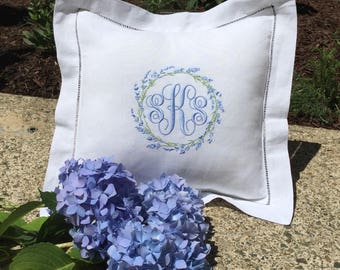 Monogrammed  Linen Pillow/ Embroidered /Personalized/ Baby Gift/Newlyweds