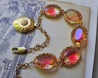 Vintage Yellow Ruby ~ Bracelet ~ Vintage Glass ~ Ruby Citrine Yellow ~ ONE of A KIND ~ Vintage Style ~ by LadyofTheLakeJewels