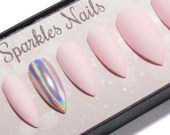 Matte Fake Nails - Stiletto Press On Nails - Pointy Glue On Holographic Nails - Design False Nails - Coffin Nails Gel - Bridesmaid Nails
