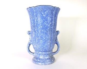 "Robinson Ransbottom Tall Vase #123 Blue Victoria Glaze 10"" Tall Vintage 1938"