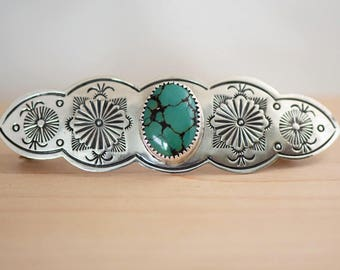 Navaho Sterling Silver Hand Stamped Large Barrette with Turquoise
