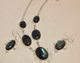 SALE: Blue Vintage Labradorite Pendant Necklace + Earrings-Labradorite Necklace, Labradorite Earrings-Labradorite Necklac