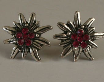 Edelweiss - Studs with rhinestones colored dark-pink