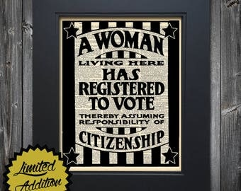 A Woman Has Registered to Vote art print on Upcycled vintage Dictionary page Suffragette