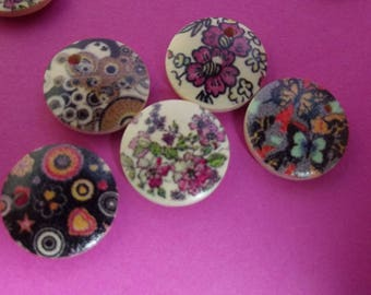 END of COLLECTION to enter 50 pearls medallions wooden painted of a single side DECOR varied diameter 15 MM