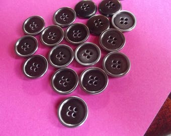 10 metal 18mm in diameter, shiny brass color buttons