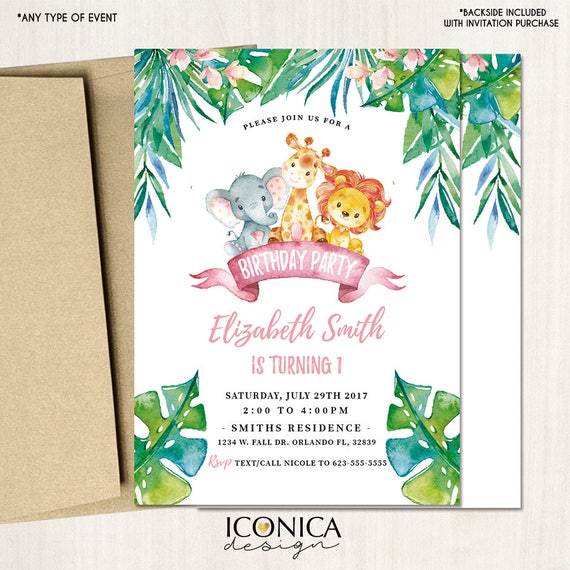 Safari First Birthday Invitations any age Party Animals Jungle
