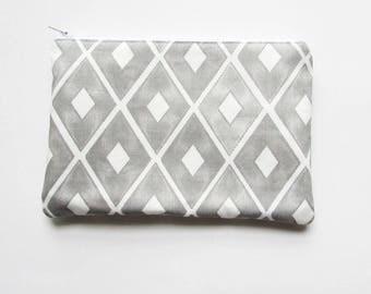 Grey & White Diamond Bag - Geometric Cosmetic Bag - Monogrammed Makeup bag -  Bridesmaid Bag - Bohemian Gifts - Medium