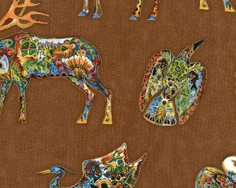 Earth Animal Spirit, totem animals, Bear, Wolf,  Eagle - Sue Coccia for Robert Kaufman - 15819 169 Brown Metallic - Priced by the half yard