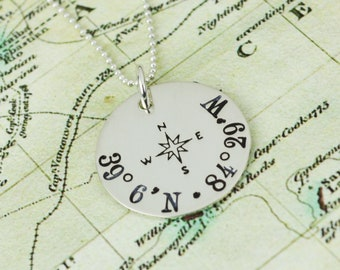 Custom Coordinates Necklace in Sterling Silver • Location GPS Coordinates, Latitude Longitude • Travel Jewelry