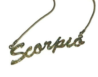 70s 80s SCORPIO Necklace Vintage GLITTERY DISCO Jewelry Choker 1970s Scorpion November Birthday Silver Chain Christmas Stocking Stuffer Gift