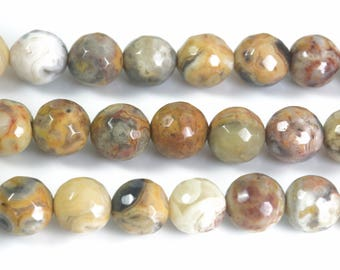 crazy lace agate faceted round beads - natural faceted stone beads for jewelry making - faceted stone ball beads - 4-10mm beads -15inch