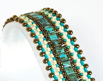 Tila Bead Bracelet - Seed Bead Bracelet - Beadwoven Bracelet in Turquoise Picasso Tila Beads, Seed Beads in Dark Gold, Cream and Turquoise