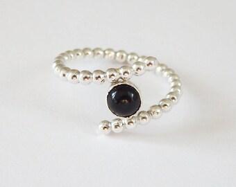 Mini Spiral Ring with Black Onyx Gemstone; Sterling Silver Beaded Ring; Sterling Silver Spiral Ring; Stacking Ring; Stacking Ring; Gemstone